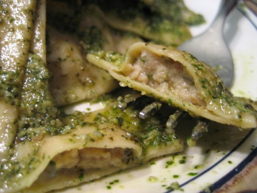 Roasted Eggplant and Goat Cheese Ravioli with Mint-Walnut Pesto