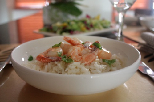 shrimp in a vanilla coconut sauce